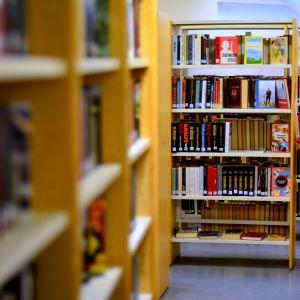 Bokhyllor i ett bibliotek.