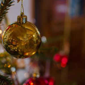 Kultainen joulupallo kuusessa