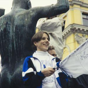 Juhlijoita Helsingissä jääkiekon maailmanmestaruuskisojen jälkeen 1995