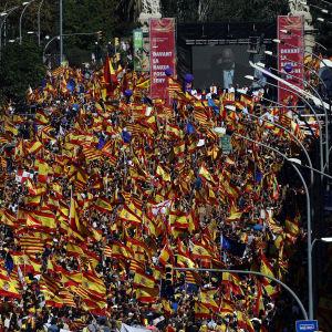 Demonstranter för ett enat Spanien samlades i Barcelona söndagen den 8 oktober 2017.