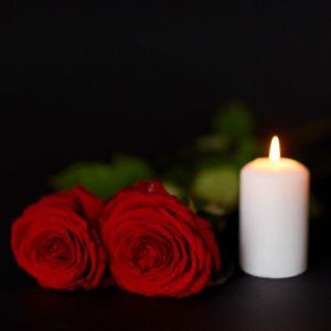 Två röda rosor och ett levande ljus mot en svart bakgrund.