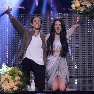 Frans Jeppson-Wall och Molly Sandén gick vidare från Melodifestivalens deltävling fyra år 2016.