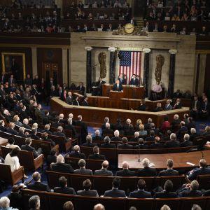 President Donald Trump håller sitt första tal inför kongressen 29.2.2017