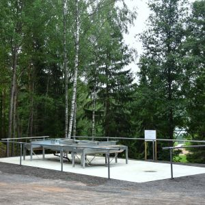 Modern mattvätt på betongplatta invid skog med badstrand i bakgrunden.
