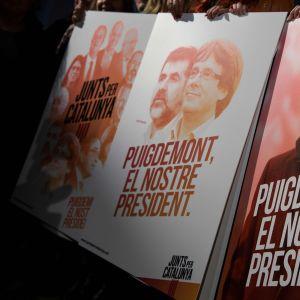 Valkampanj för Carles Puigdemont och Jordi Sanchez i Katalonien.