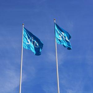Yle-lippuja salossa Vaasassa.