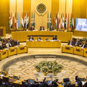 Arabförbundets utrikesministrar samlade till krismöte i Kairo den 9 december 2017 med anledning av Trumps besked att USA erkänner Jerusalem som Israels huvudstad.