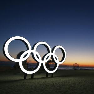 Bild på OS-ringarna i Gangneung.