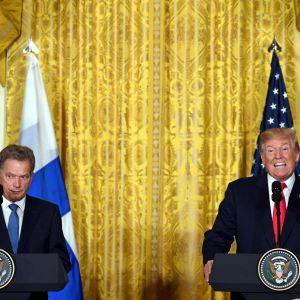 Sauli Niinistö och Donald Trump i Vita huset.