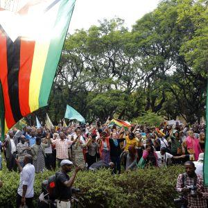 Fredsdemonstration strax efter att Mugabe officiellt avsatts som partiledare.