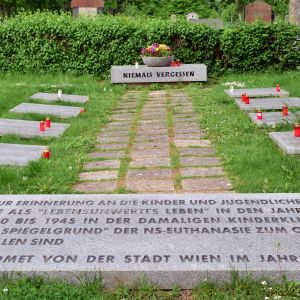 Minnesmärke över de handikappade barn som dödades på kliniken Am Spiegelgrund i Wien under nazismen.