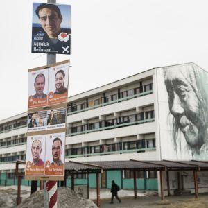 Valkampanjen på Grönland omfattar sju partier.