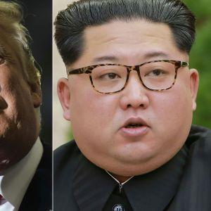 USA:s president Donald Trump och Nordkoreas ledare Kim Jong-Un i en kombinationsbild från den 10 maj.
