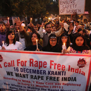 Demo mot våldtäkt i New Delhi.