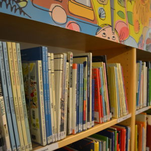 Böcker  vid biblioteket i Pargas.