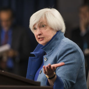 Janet Yellen under en presskonferens den 14 december 2016.