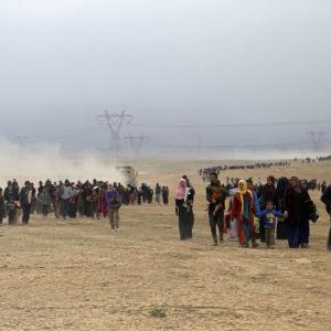 Flyktingar sydväst om Mosul i Irak.