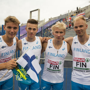 Willem Kajander, Oskari Lehtonen, Samuli Samuelsson och Aleksi Lehto, U23-EM 2017.