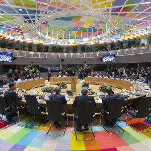 EU-ledarna samlades i Europabyggnaden på lördagen, Storbritannien var inte inbjudet. 29.4.2017