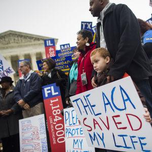 Demonstration till förmån för Obamacare.