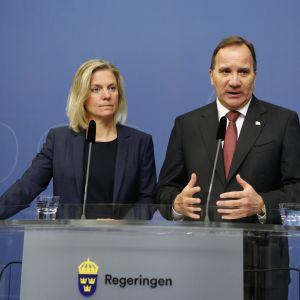 Statsminister Stefan Löfven och finansminister Magdalena Andersson.