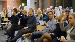 Valdebatt inför Kårvalet vid Åbo Akademi.