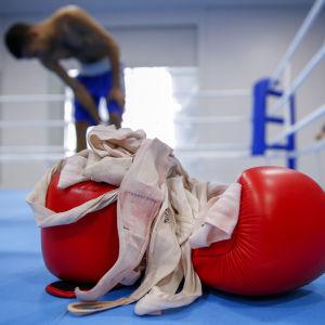 Ett par boxningshandskar ligger i en boxningsring.