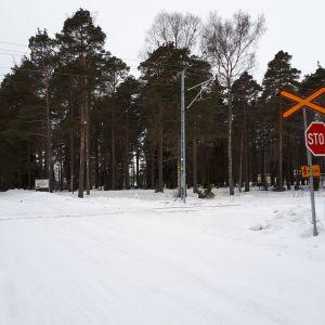 Plankorsningen vid Korsgrundsvägen i Jakobstad.