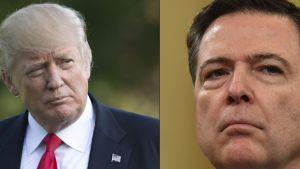 USA:s president Donald Trump och den sparkade FBI-chefen James Comey.