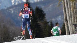 Julija Tjekaljova i skidspåret i OS 2014