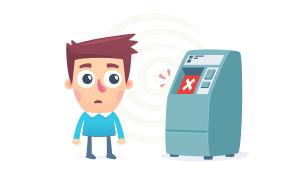 Piirroshahmo pankkiautomaatilla