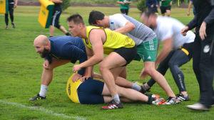 En grupp rugbyspelare på gräsplan. En spelare ligger på marken, de andra är utanpå och försöker ta bollen.