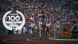 Lasse Virén, 5000 meter OS 1972, med logon för Finlands 100 största idrottsögonblick.