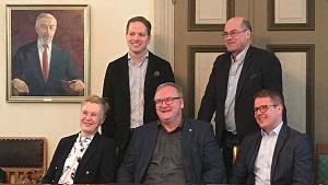 Agneta Evers, Frank Hoverfelt, Eero Hettula, Olof Exell och Patrik Gustafsson.