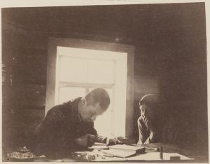 Yrjö Blomstedt kirjoittamassa runoja muistiin runonlaulajanaiselta