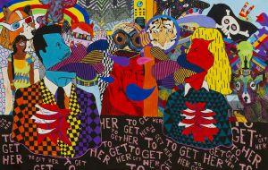 Målning med färggranna huvuden som pratar