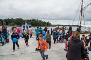 Barn på Sov tryggt-dagen i Vasa.