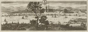 Umeå omkring år 1700. Ur Suecia antiqua et hodierna.