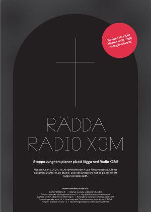 """En affisch som liknar en svart gravsten med texten """"Rädda Radio X3M"""""""
