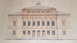 en tecknad bild av åbo svenska teaters teaterbyggnad