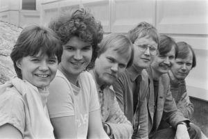 Rockradion toimittajat vuonna 1982: Outi Popp, Tero Liete, Juha Tynkkynen, Heimo Holopainen, Jake Nyman ja Jukka Haarma.