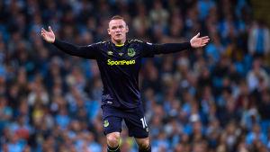 Wayne Rooney gestikulerar med båda händerna.