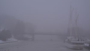 dimma över glyckauf och mannerheimgatans bro i borgå