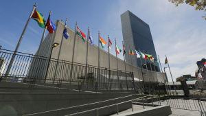 Förenta Nationernas högkvarter i New York dagen innan toppmötet den 25 september 2015 inleddes.