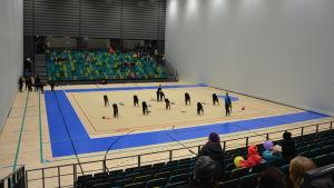 Åskådare följer med gymnastikträningar i bollhallen i Åbo.