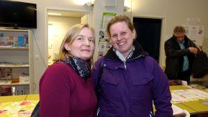 Sara Tallsten och Susanne Träskelin ororar sig över inomhusluften i Sannäs skola.