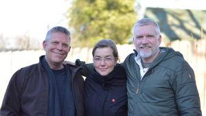"""Gruppbild på Alf Norkko, Joanna Norkko och Patrick """"Pata"""" Degerman."""