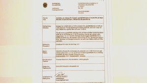 Ett pappersdokument, ett tjänstemannabeslut om stöd för ett bussbolag av staden Raseborg.