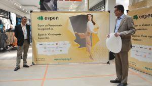 Jan-Erik Hinds och Tom Westermark på HS-stiftelsen avslöjar att HS Center byter namn till Espen.