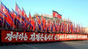 Officiell manifestation i Pyongyang.